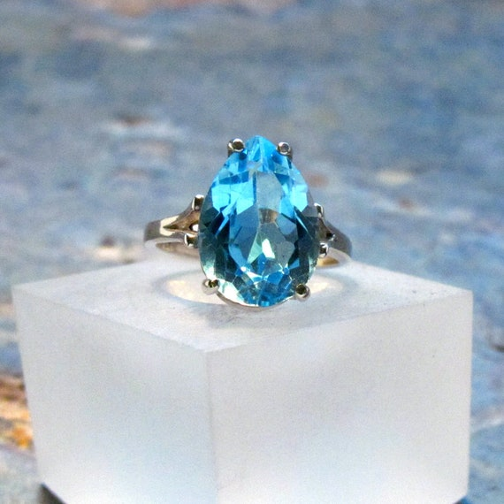 Blue Topaz 3-Stone Ring ~ Sky Blue and Swiss Blue Topaz Statement Ring ~ December Birthstone Ring ~ Sterling Silver Gemstone Ring Size 7