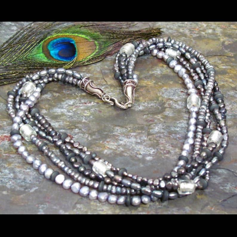 2b48db1a9809 Torsade de perla agua dulce collar de plata perlas azul