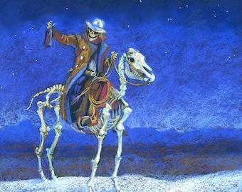 Drink Red Instead - skeleton cowboy on a skeleton horse downloadable print