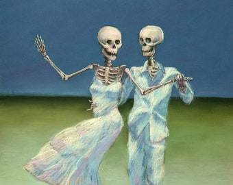 Shall We Dance? - romantic skeleton couple dancing on the beach downloadable print