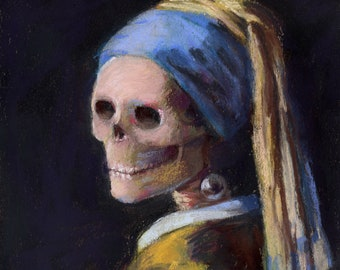 Skelly with a Pearl Earring - skeleton downloadable print of Vermeer's Girl with a Pearl Earring
