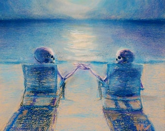 Pull My Finger - romantic skeleton couple on the beach with a full moon downloadable print