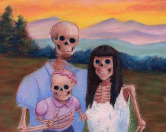 Skeleton Family - Skeleton family--mom, dad, baby girl--posing for a picture downloadable print