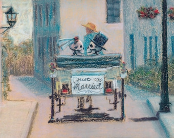Happily Ever After - romantic skeleton couple riding in a horse and carriage downloadable print