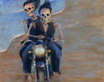 Bone to be Wild - romantic skeleton couple riding a motorcycle on the beach downloadable print