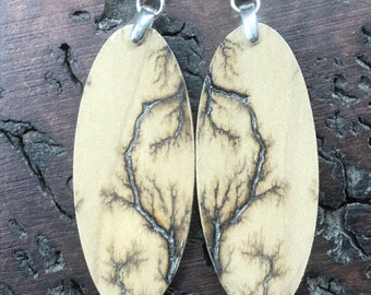 Bookmatched Fractalburned Earrings