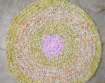 "Round Crochet Rag Rug  ""Here Comes the Sun"""