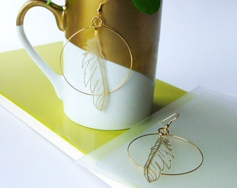Delicate Gold And Vinyl Feather Hoop Earrings