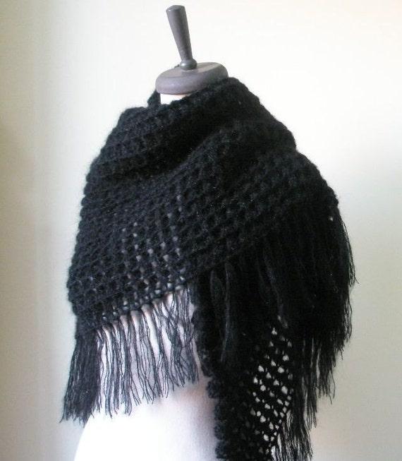 Schwarz häkeln Schal Dreieck Schal wickeln Stola handgemachtes | Etsy