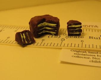 Mint Chocolate Cake 1:12 scale Dollhouse Miniature