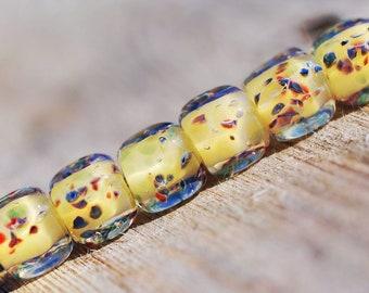 Lampwork BORO glass beads (6), borosilicate glass beads, handmade borosilicate lampwork glass beads, lemon canary yellow. borosilicate SRA