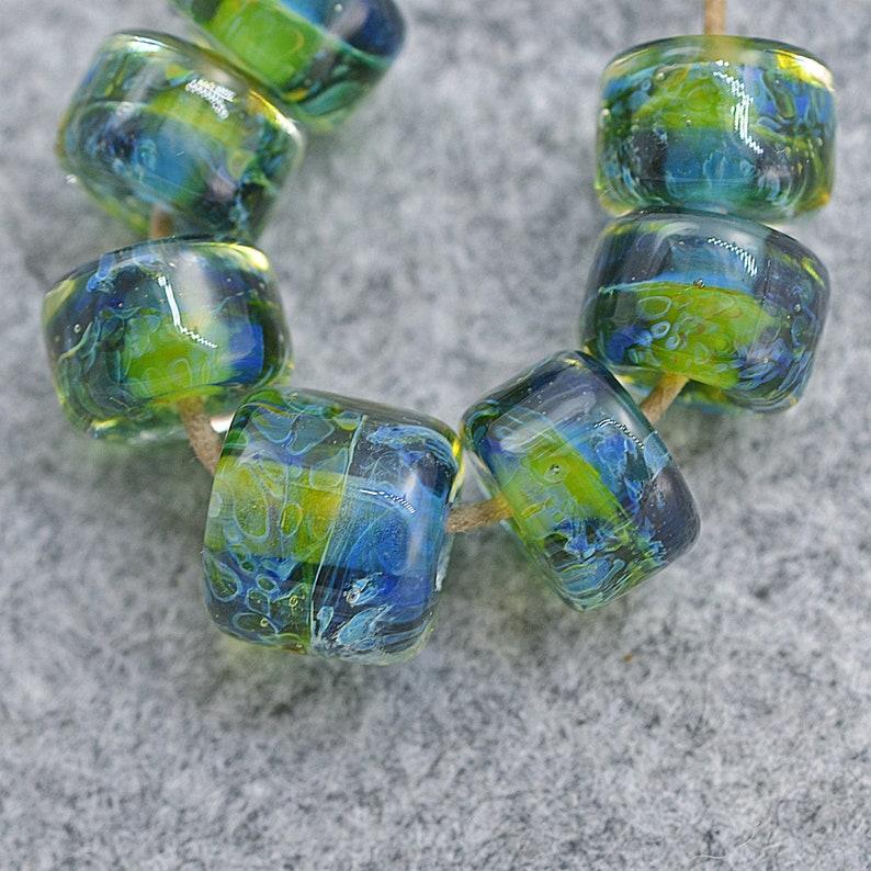 Borosilicate glass beads SRA set of 7 handcrafted lampwork boro glass beads