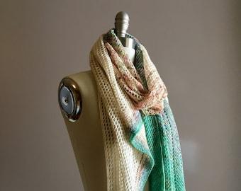 Knitting Pattern PDF x Garden Scarf x Lace Knit Scarf x Fade Gradient Scarf x Warm Lightweight Knit x All Seasons Knitting x Boho Chic Style