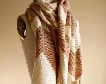 Knitting Pattern PDF x Shift Scarf x Tasseled Scarf x Cozy Chevron Knit  x Oversize Wrap x Easy Knitting Pattern x Modular Knitting Pattern