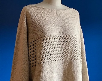 Knitting Pattern PDF x Breathe Sweater x Cotton Pullover Sweater x Lace Panel Knit x Easy Knit Sweater x Batwing Pullover Pattern