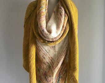 Knitting Pattern PDF x Glow Shawl x Knit Fade Gradient Shawl x Cozy Hygge Style Scarf x Slow Fashion x Meditation Knitting Pattern