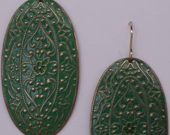 Green enameled pendant earrings on 14k gold ear wires