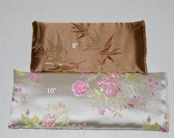 """Satin Eye Pillow 8"""" or 10"""" choose color and lavender or unscented yoga eye pillow"""