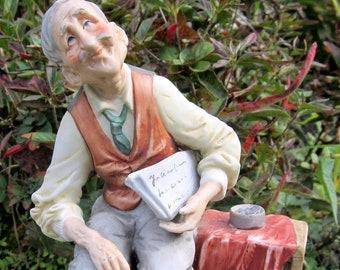 Vintage Bruno Capodimonte Figurine Porcelain Old Man Newspapers no.1044 3D Detail Hand Painted Fathers Gift Idea