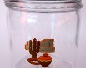 Glass Cigar Jar Humidor Kitchen Canister Pretzel Chips School Supplies Cactus Motif