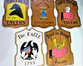 Wood Sign Tavern 5 Bar Man Cave Souvenir Wall Plaque Beer Advertising 1960s Brass Hanger Made in Japan Unique Vintage Collectible Gift Idea