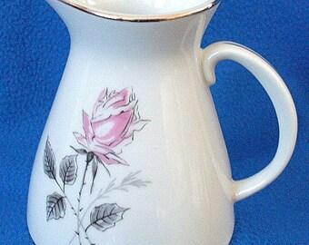 Creamer Pitcher Czech Platinum Vintage Bohemian SILVER ROSE China