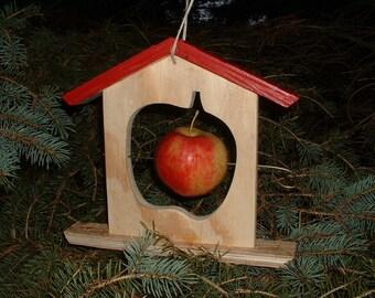 Handmade Apple Bird Feeder Wood Winter Summer Treat Teacher Gift Unique Fruit Holder