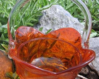 Glass Basket Vintage Amberina Orange Flower Blown Handle Petal Applied Detailed Scalloped Rim Art Glass Centerpiece
