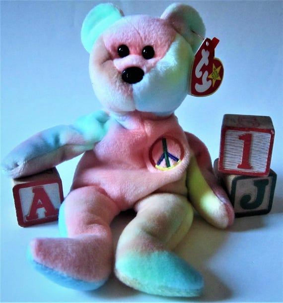 PEACE BEAR Ty Beanie Babies Retired February Birthday 1996  2b769d98d32b