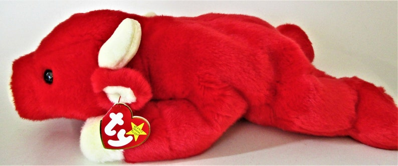 Ty Beanie Baby Large Buddy SNORT Retired 1998 Original Red  221f9e5afe1