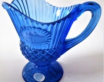 Cobalt Blue AVON Washington Mount Vernon Fostoria Cameo Glass Pedestal Pitcher Creamer Ribbed Optic Colonial Footed Syrup C- Handle Spout