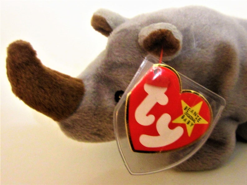 f8357033e77 SPIKE Rhinoceros Ty Beanie Babie Retired 1996 Original Brown