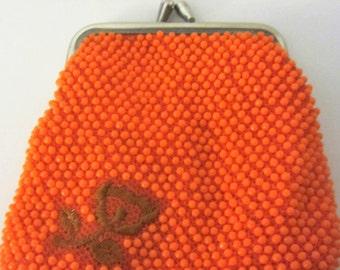 Vintage Orange Mesh Clutch Purse Made in Hong Kong Kiss Lock Beaded Change Coin Evening Bag Flower Motif