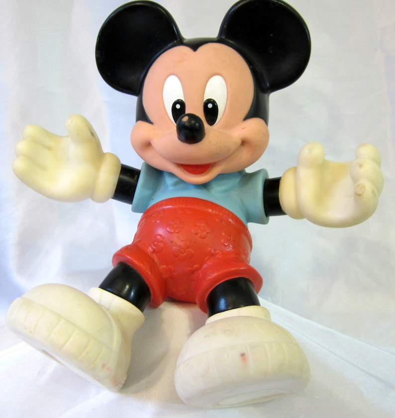 6c6d7528ff0 Mickey Mouse Plastic Figure Disney Moveable Doll Toy Vintage
