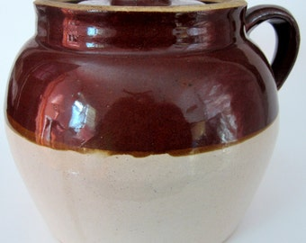 Robinson Ransbottom No 2 Stoneware Bean Pot Soup Crock Bowl Pottery Casserole USA Blue Crown