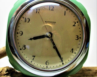 Vintage Electric Wall Hammond Clock Co SYNCHRONOUS Art Deco Mint Green Metal USA Square Mid Century Kitchen Retro Large Black Numbers