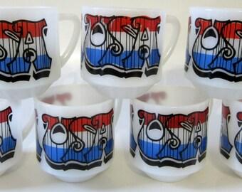 Proud USA Milk Glass Coffee Mug Red White Blue Logo Federal Co Classic