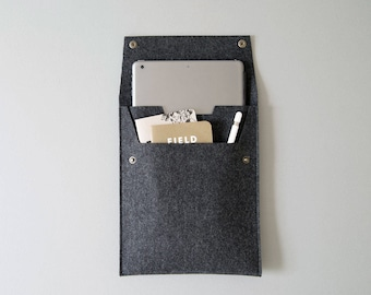 """Made in the USA - Felt iPad Sleeve with Flap and Pocket - Charcoal Felt all iPads -  9.7"""", 10.2"""", 10.5"""", 11"""" and 12.9"""" iPad Pros/Airs"""