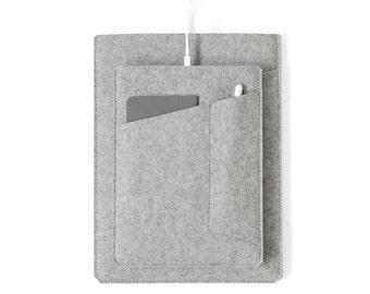 """Made in the USA - iPad Sleeve with Pockets - Grey Felt for 10.5"""", 11"""",  12.9"""" iPad Pro, 10.2"""" iPad or 9.7"""" iPad Pro/Air"""