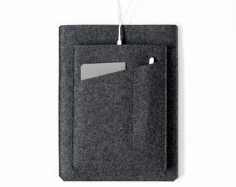 "Made in the USA - iPad Pro Sleeve with Apple Pencil Pocket - Charcoal Felt for 9.7"" iPad, 10.5"" iPad Pro, 12.9"" iPad Pro, Made in the USA"