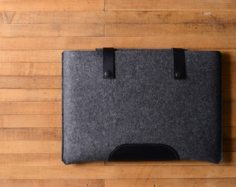 """MacBook Pro Sleeve - Charcoal Felt and Black Leather Patch, Straps for the New 13"""" 15"""" 16"""" MacBook Pro"""