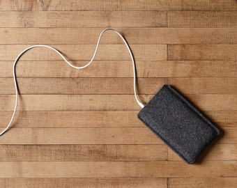 Simple iPhone Case - Charcoal Felt for iPhone 11 Pro, iPhone 11 Pro Max, iPhone XR, iPhone 8, and 8 Plus - Made in the USA of 100% wool felt