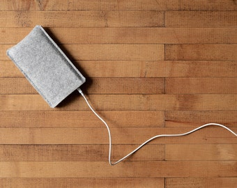 Simple iPhone Case - Grey Felt for iPhone 11 Pro, iPhone 11 Pro Max, iPhone XR, iPhone 8, and 8 Plus - Made in the USA of 100% wool felt