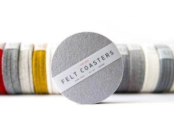 Felt Round Coaster - 100% Wool Felt, Set of Two or Set of Four - Multiple Colors