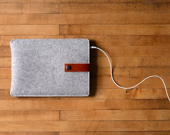 iPad Mini Sleeve - Grey Felt and Brown Leather