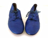 LAFAYETTE French Vintage Cobalt Blue Leather Lace up Oxford