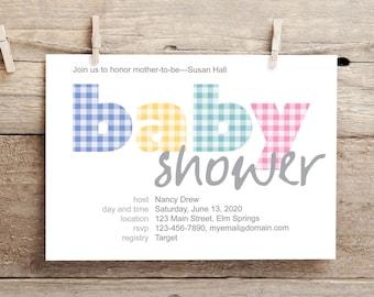 Gingham Checks Baby Shower Invite