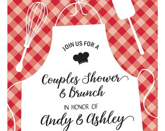 Red Check Bridal Shower Invite