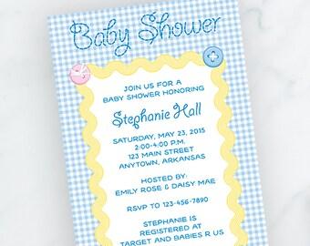 Baby Blue Checks Baby Shower Invite