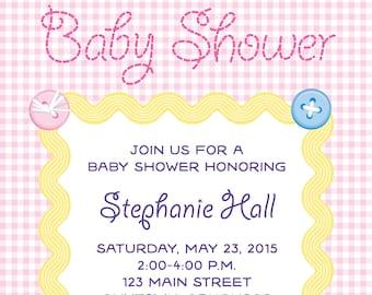 Baby Pink Checks Baby Shower Invite